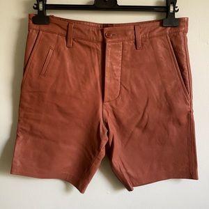 Mackage men sz 28 lamb leather rust colour shorts